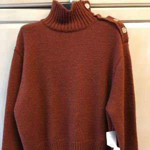 Zara turtle neck chunky brown knit ladies sweater